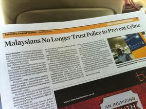 Malaysians NO LONGER trust police to prevent crime?!