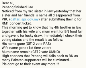 1Malaysia Concert: Widespread Messages About Voters Removed On SPR